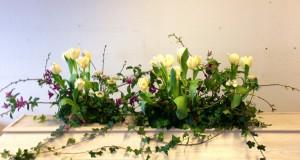 Kistdekoration av tulpaner